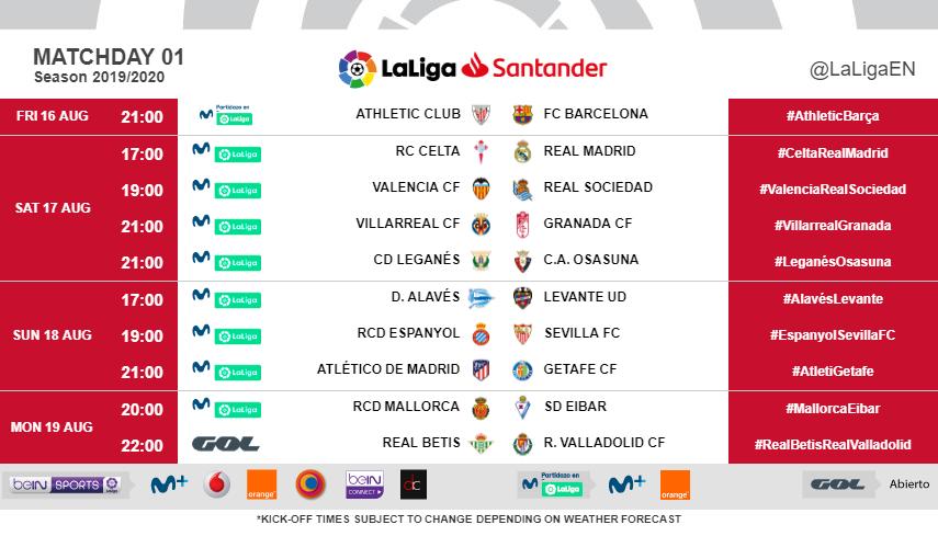 Calendrier Barca 2020.Official Barca Start Their 2019 2020 La Liga Campaign In