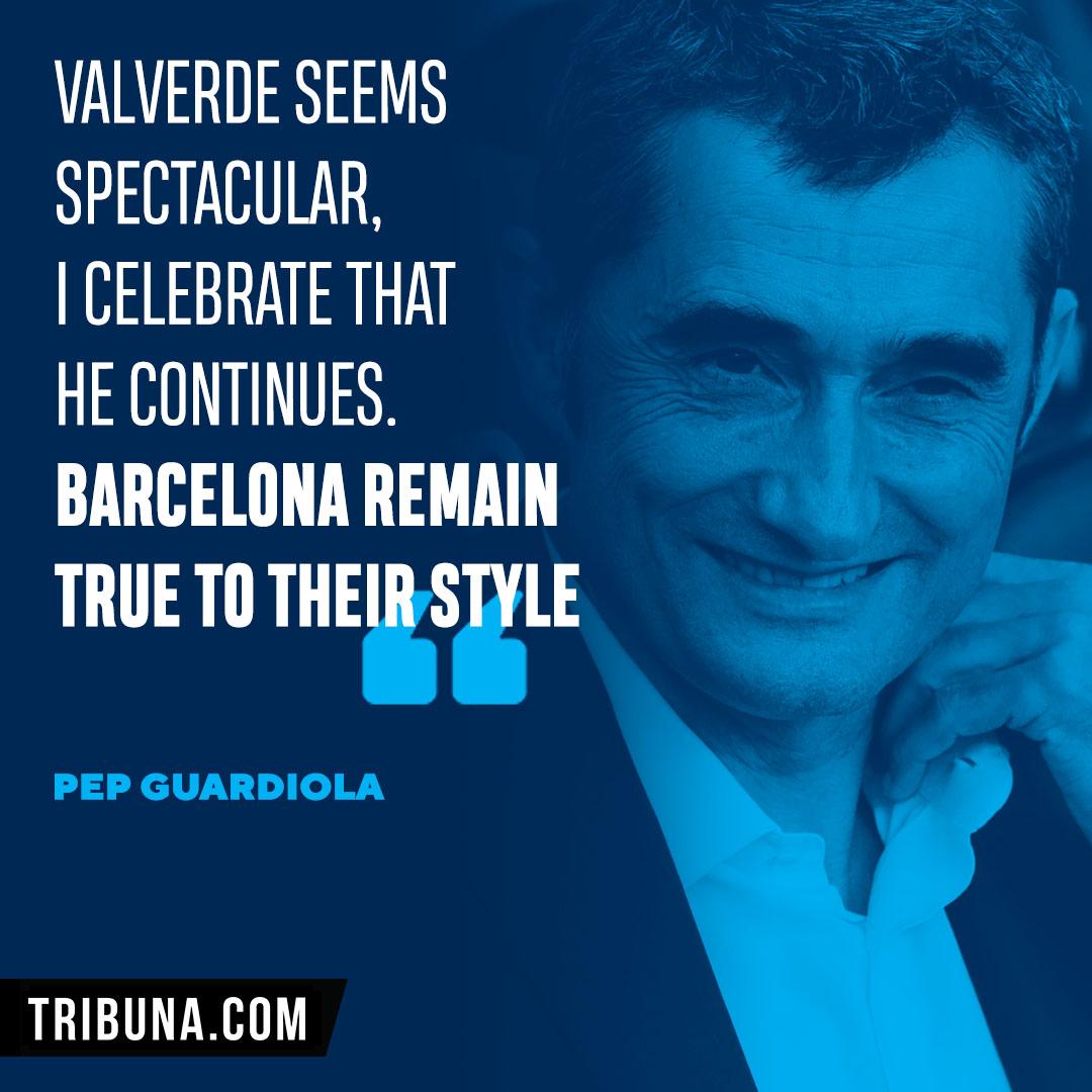 Guardiola: 'Valverde is spectacular, Barcelona remain true