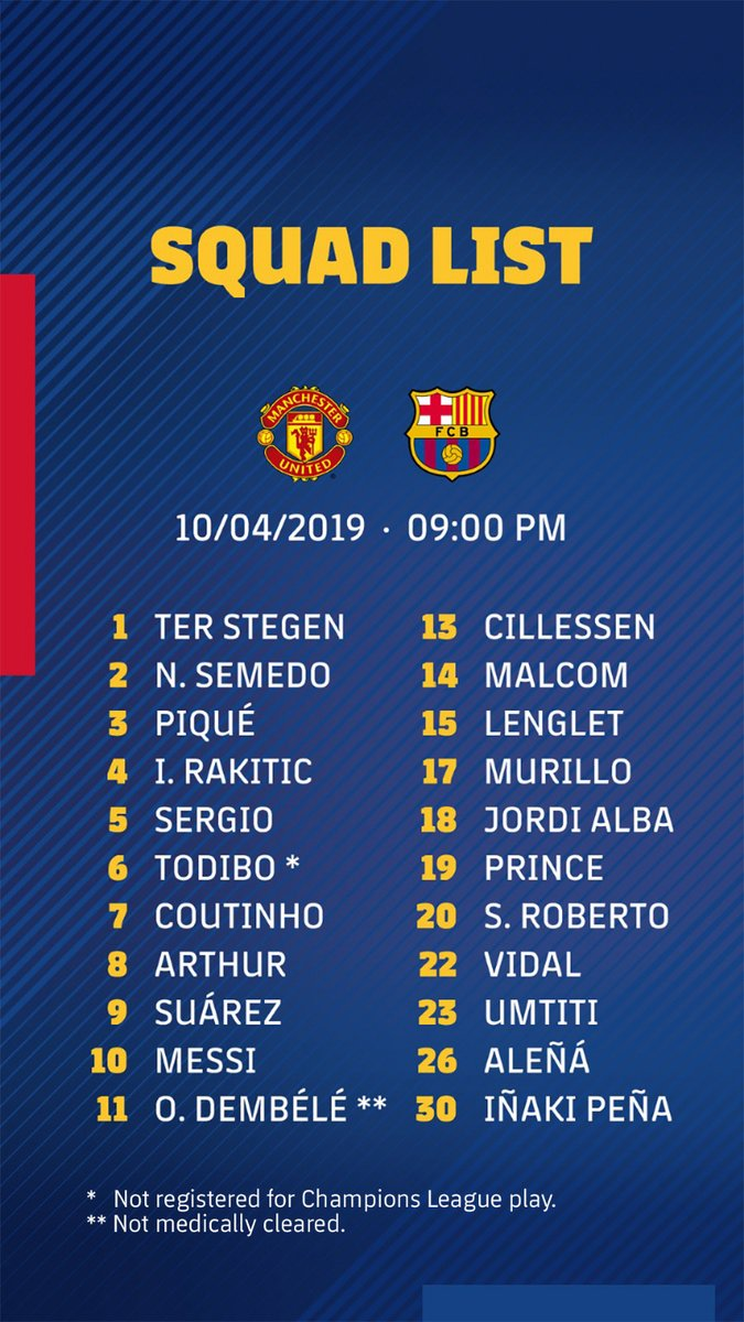 Dembele IN Barcelona S Squad To Face Man United Revealed