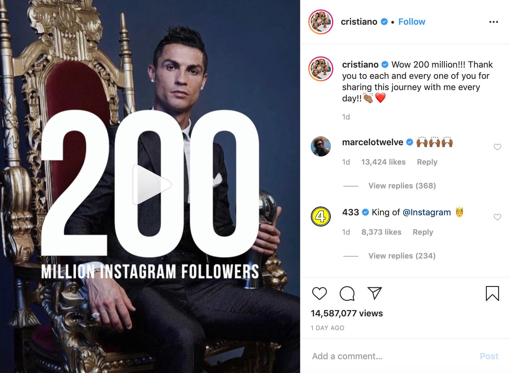 Cristiano Ronaldo Becomes The First Human To Reach 200 Million Followers On Instagram Tribuna Com